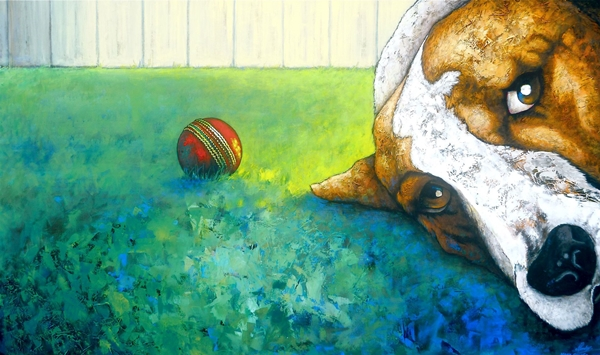 Mary Conder | No Ball | Acrylic on canvas | 920 x 1525mm | $3,000