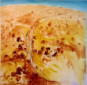 Chris Seale - Our Arid Land series - The Waterfall. Acrylic on canvas, 1210 x 1210