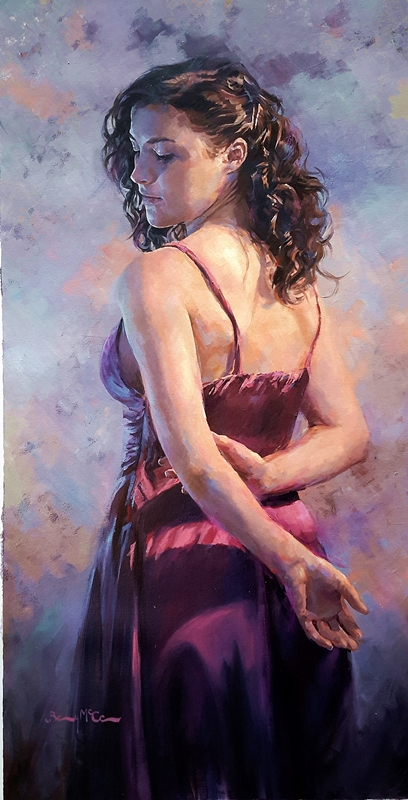 Barry McCann - Girl in the Purple Dress, oil on canvas