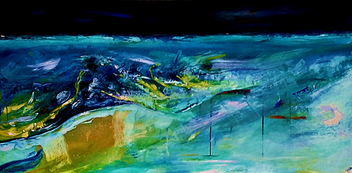 Mark Pryer, Blue Earth, 760 x 1530, Acrylic on canvas.