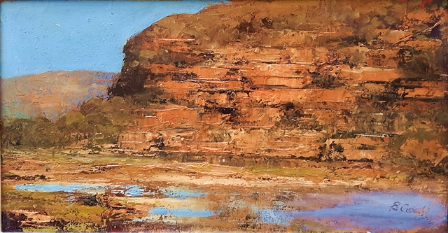 Brian Cook - Coastal Pool - Oil on board - 375 x 580