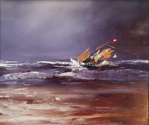 Brian Cook - Shipwreck - oil on board - 420 x 500