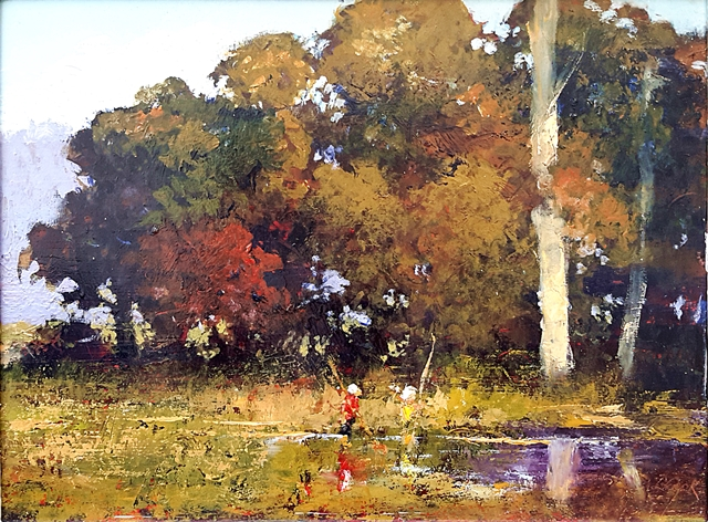 Brian Cook - Yabby Hunting - Oil on board - 470 x 570