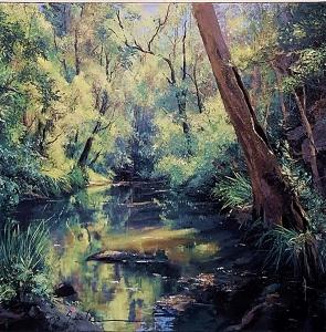 Chris Seale, Sunlit Creek, Acrylic on canvas, 900 x 900