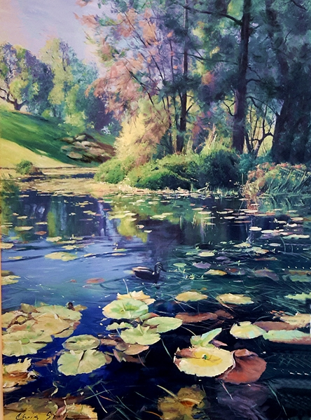 Chris Seale|Waterlilies| 1230 x 910mm| acrylic on canvas| $7000
