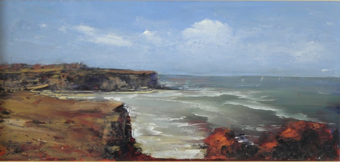 Brian Cook, The Inlet, oil on board, 450x750mm