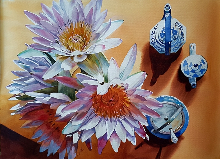 Lucy McCann - White Waterlilies and teapots