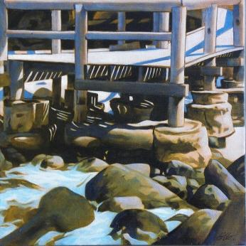 Otto Schmidinger, Wharf II, Oil on canvas, 300 x 300mm, $300.