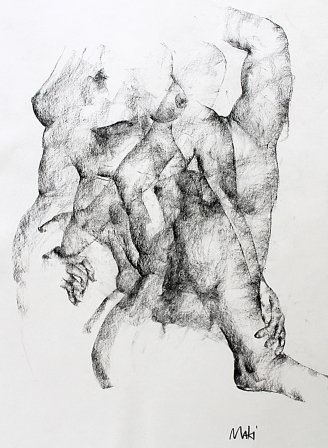 Maki Horanai | Figure Study #5 | 840 x 700mm | Charcoal on paper, mounted and framed |625