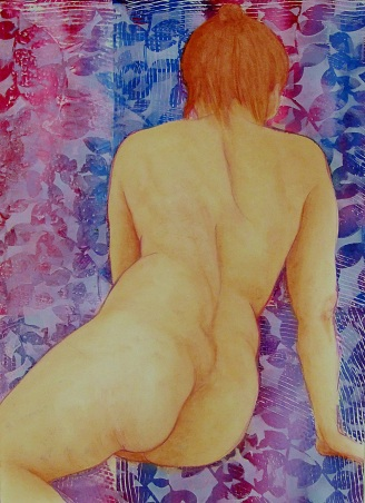 Steve Hillier and Susan Skuse | Parisian Mood | Polychrome pencil and acrylic monoprinting | 550 x 430mm framed | $450