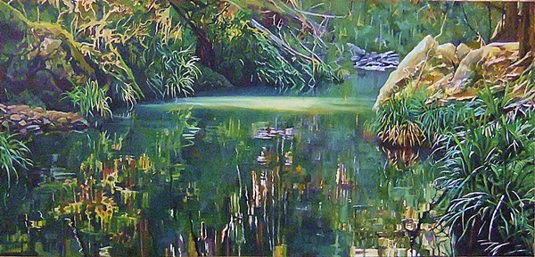 Susan Skuse | Mudgeeraba Creek - a view in three parts - No. 1 | oil on canvas | 330 x 830mm | SOLD