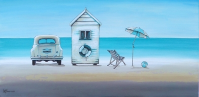 Mary Conder | Vintage Beach | Acrylic on Canvas | 460 x 920mm | $1200