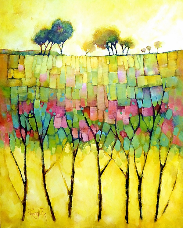 Ros Dux, Trees in Blossom, Acrylic on canvas, 800 x 650mm, framed $1600