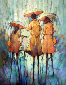 Rosly Dux | Umbrella People Aqua Glow | Acrylic on canvas | 800 x 650 mm framed |$1600
