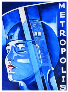 Metropolis, 1927, Germany - In a futuristic city sharply divided between the working class and the city planners, the son of the city's mastermind falls in love with a working class prophet who predicts the coming of a savious to mediate their differences | Handpainted artwork on 300gsm watercolour paper, 770 x 570mm unframed | $350