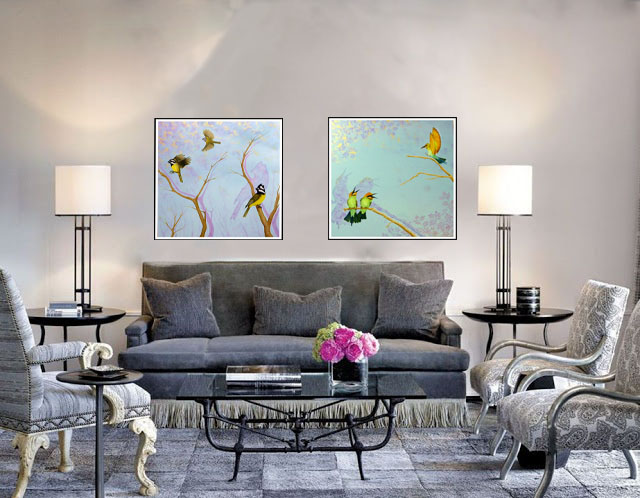 Steve Hillier | Feathered Friends No. 1 and 2 | Acrylic and oil on canvas | 760 x 760mm | $850 ea.