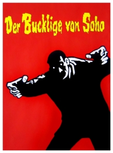 The Hunchback of Soho, 1966, Germany - A woman is kidnapped and her identity is stolen by criminals attempting to collect her inheritance. | Handpainted artwork on 300gsm watercolour paper, 770 x 570mm unframed | $350