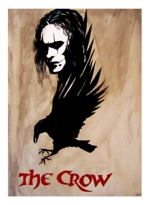 The Crow, 1994, USA - A man brutally murdered comes back to life as an undead avenger of his and his fiance's murder.  Handpainted artwork on archival 300 gsm watercolour paper | $350 unframed