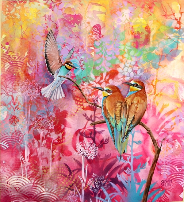 Bee eaters on pink 2.web