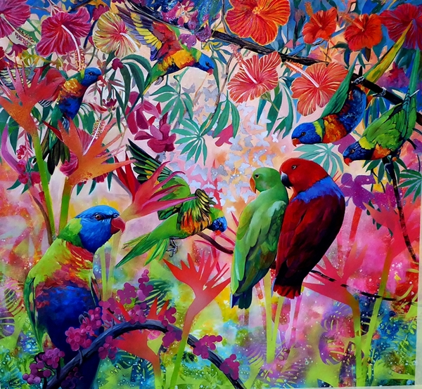 Garden Party #1 - Rainbow Lorikeets and Ecletus.web