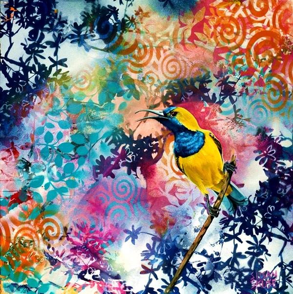 Olive backed sunbird,web